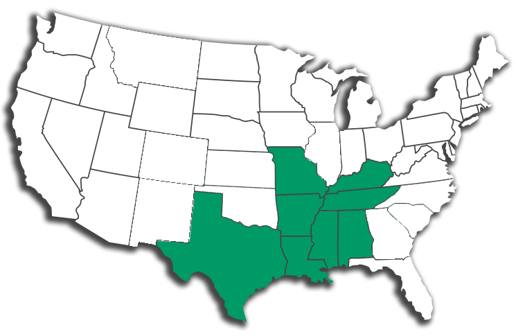 Arkansas, Alabama, Texas, Oklahoma, Missouri, Kentucky, Tennessee.